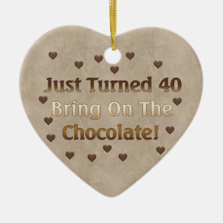 40th Birthday Means Chocolate Ceramic Heart Ornament