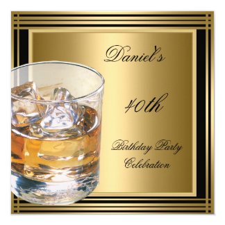 "40th Birthday Mens Black Gold Cold Drinks Mans 5.25"" Square Invitation Card"