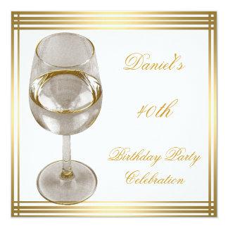 "40th Birthday Mens Sepia Gold Cold Drinks Man 5.25"" Square Invitation Card"