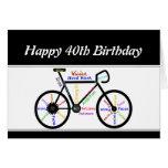 40th Birthday Motivational Bike Bicycle Cycling Greeting Card
