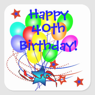 40th Birthday Or Any Age Fun Birthday Stickers