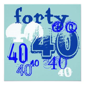 "40th Birthday Party 5.25"" Square Invitation Card"