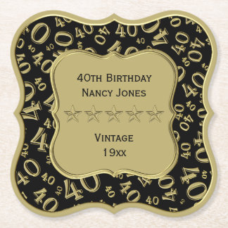40th Birthday Party Black and Gold Theme Paper Coaster