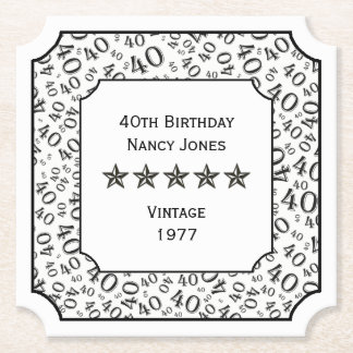 40th Birthday Party Black and White Theme Paper Coaster