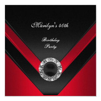 40th Birthday Party Black  Red Diamond Jewel Card