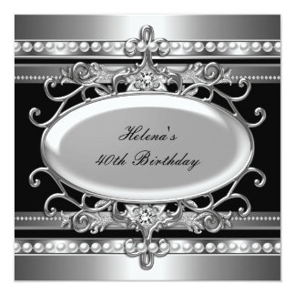 40th Birthday Party Black & Silver Flower Pearl Card