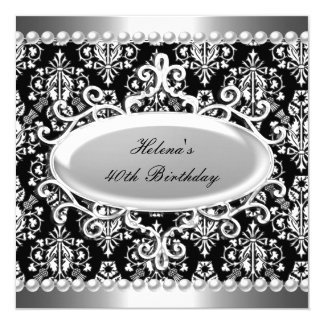 40th Birthday Party Black White Damask Pearl Card