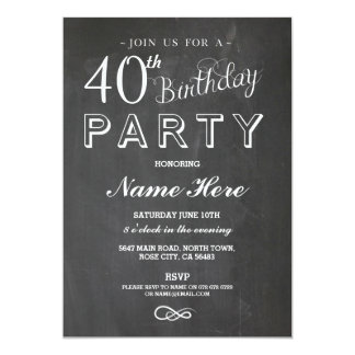 40TH BIRTHDAY PARTY CHALKBOARD SURPRISE INVITE
