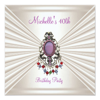 40th Birthday Party Cream Silk Mauve Bead Card