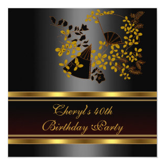 40th Birthday Party Floral Black Gold pattern Card