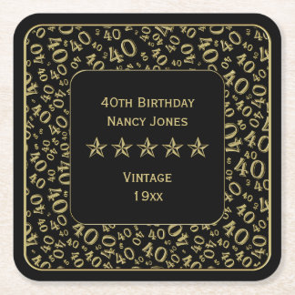 40th Birthday Party Gold/Black Pattern Square Paper Coaster