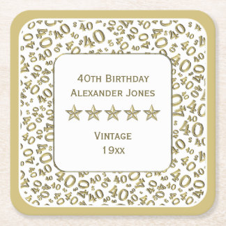 40th Birthday Party Gold/White Pattern Square Paper Coaster
