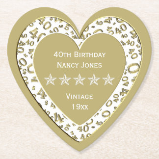 40th Birthday Party Gold/WhiteTheme Paper Coaster