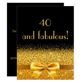 40th birthday party invitation black with gold bow