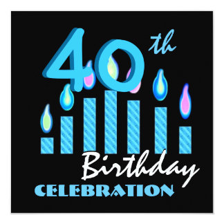 40th Birthday Party Invitation Blue Candles