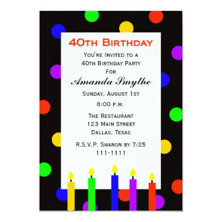 40th Birthday Party Invitation Candles & Dots