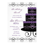 40th Birthday Party Invitations In Purple Swirl