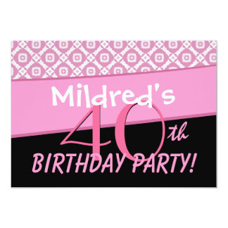 40th Birthday Party Pink Pattern Template Card