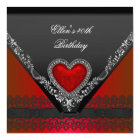 40th Birthday Party Red Heart Jewel Black White Card
