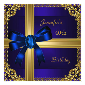 40th Birthday Party Rich Royal Blue Gold Jewel Card