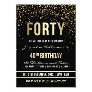 Elegant Classy 40th Birthday Invitations