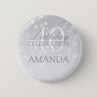 40th Birthday Party Silver Bokeh Sparkle Lights 2 Inch Round Button