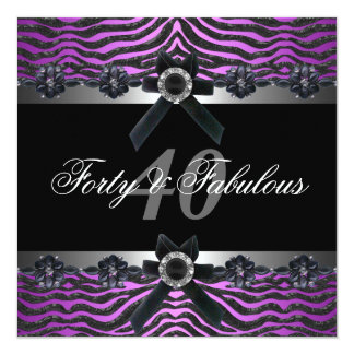 "40th Birthday Party Silver Purple Pink Black White 5.25"" Square Invitation Card"