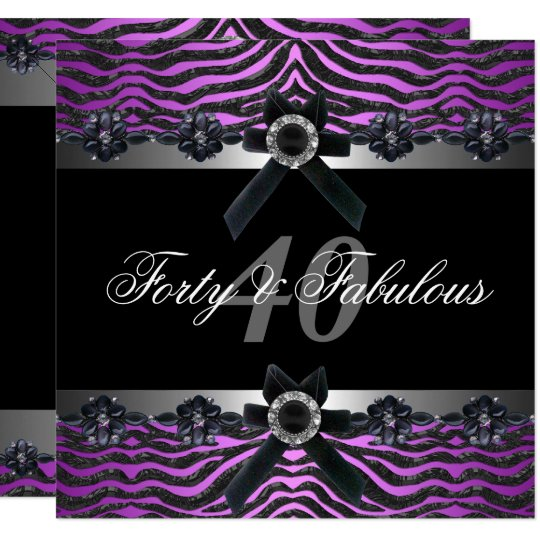 40th Birthday Party Silver Purple Pink Black White Invitation
