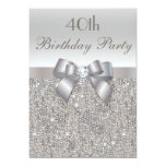 "40th Birthday Party Silver Sequins, Bow & Diamond 5"" X 7"" Invitation Card"