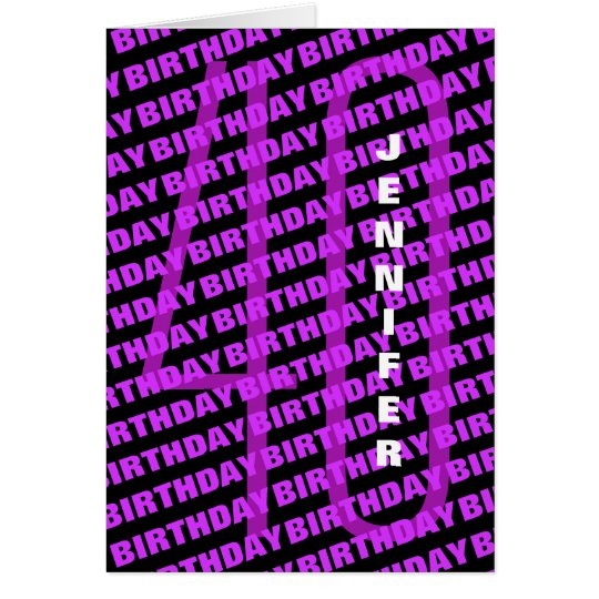 40th Birthday Personalized Purple Card