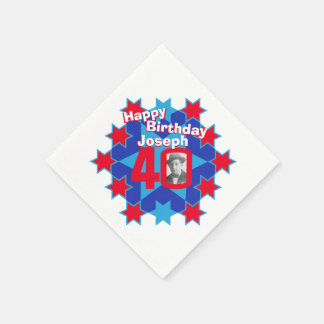 40th birthday photo and name red star napkins paper napkin