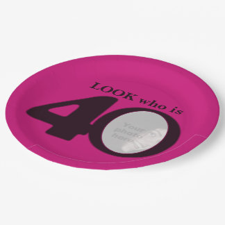40th birthday photo look dark pink paper plate