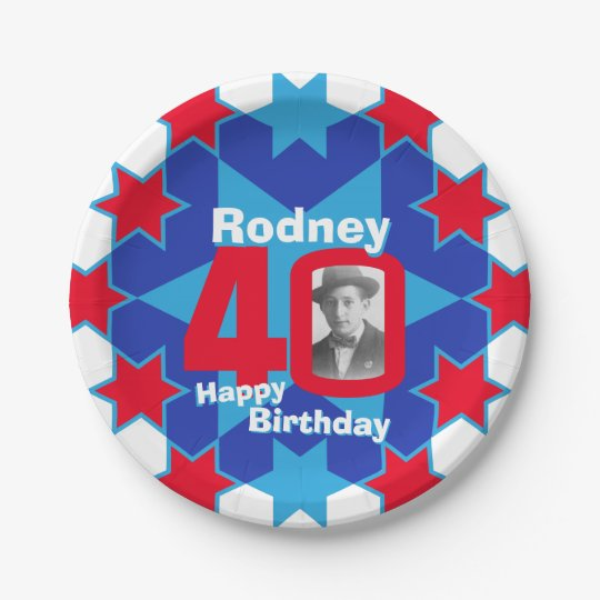 40th birthday photo name blue star paper plate 7 inch paper plate