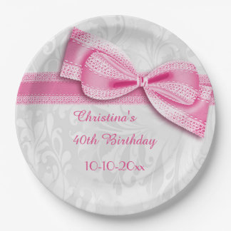 40th Birthday Pink Damask and Faux Bow Paper Plate