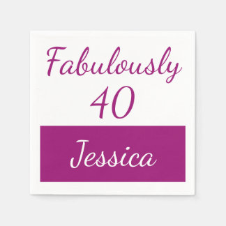 40th birthday Pink Personalize fabulously 40 Disposable Napkin