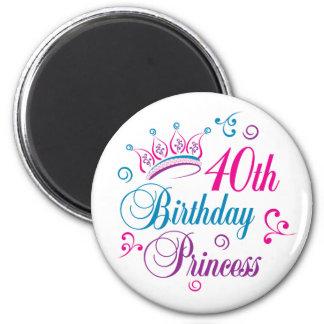 40th Birthday Princess 2 Inch Round Magnet