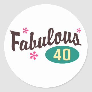 40th Birthday Round Sticker