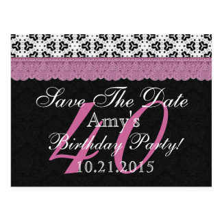 40th Birthday Save the Date Black White Pink Postcard