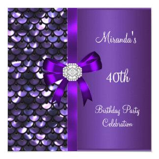 40th Birthday Sequins Purple Diamond Bow Card