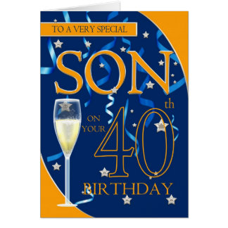 40th Birthday Son - Champagne Glass Card