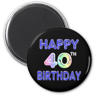 40th Birthday with Ballon Font Magnets