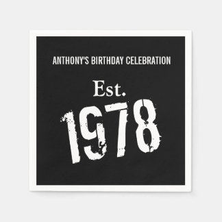 40th Birthday Year 1978 Custom Paper Napkin