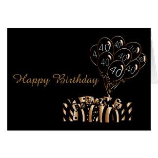 40th Black Balloons Birthday   Diy Words Card