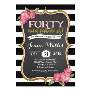 40th Forty Fabulous Birthday Invitation