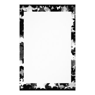 40th Party Black and White Kawaii Stars Personalized Stationery