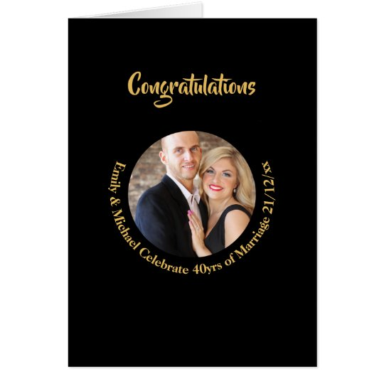 40th PHOTO Wedding Anniversary Black Gold Marble Card
