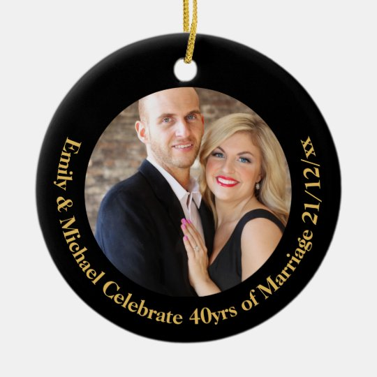 40th PHOTO Wedding Anniversary Black Gold Marble Ceramic Ornament