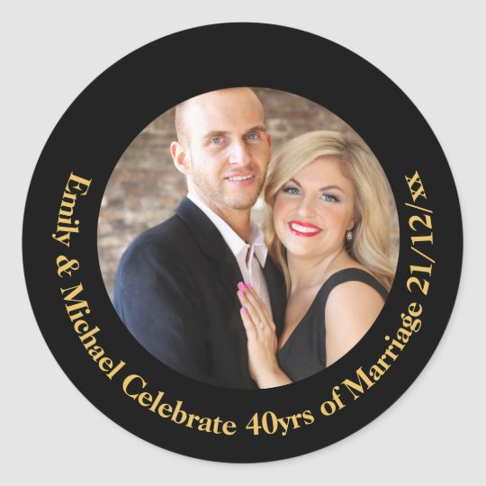 40th PHOTO Wedding Anniversary Black Gold Marble Classic Round Sticker