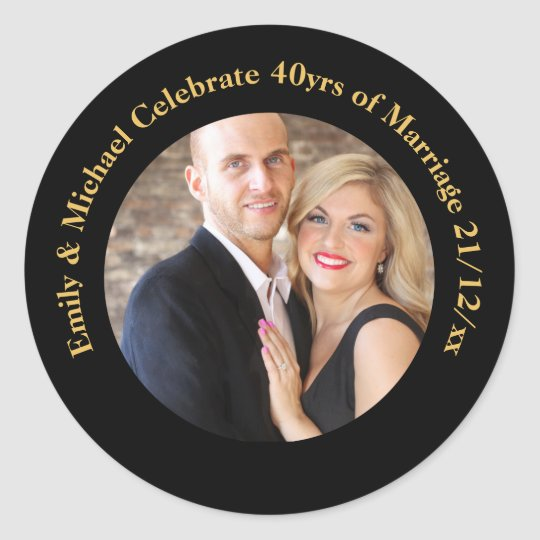 40th PHOTO Wedding Anniversary Black Gold Marble Classic Round Sticker