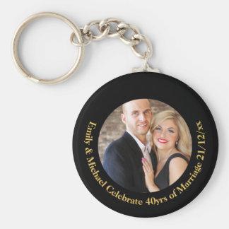 40th PHOTO Wedding Anniversary Black Gold Marble Keychain